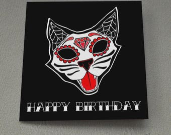 Sugar Skull Kitty Birthday Card Day Of The Dead Cat Tattoo Goth Rockabilly Candy