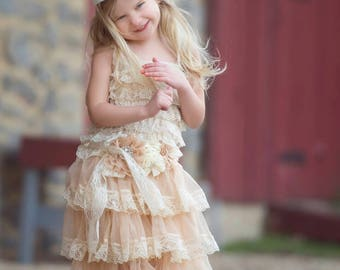Champagne Chiffon Flower Girl Dress and Vintage Sash Set