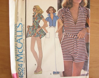 "1970s jumpsuit pattern by McCalls No. 4524, short jumpsuit with wrap skirt, size 16, bust 38"" 97 cm"