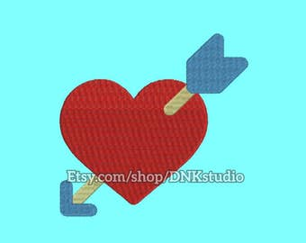 Heart Arrow Embroidery Design - 5 Sizes - INSTANT DOWNLOAD
