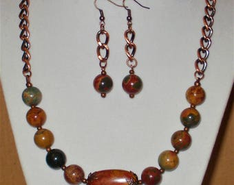 Red Creek Jasper & Copper Necklace and Earrings Set