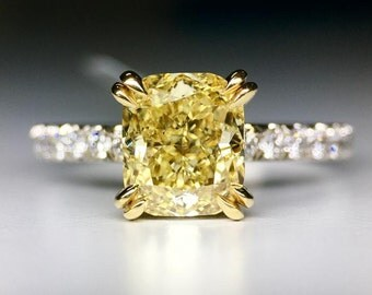 platinum 2 carat cushion cut yellow diamond engagement ring wedding ring bridal ring - Yellow Diamond Wedding Rings
