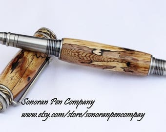 Majestic Jr. Pewter and Antique Brass Thailand Rosewood Rollerball Pen