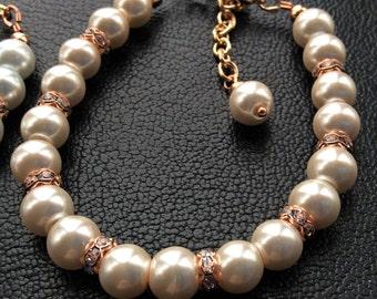 Rose Gold Mother of the Bride bracelet - Bridal party bracelet - Rose Gold Bridesmaid Jewelry - Rose Gold Bridal Bracelet - Rose Gold - Rose