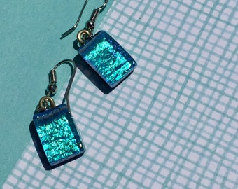 Fused Glass Earrings with Shimmery Turq