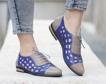Purple Leather Shoes, Purple Oxford Shoes, Purple Shoes, Close Shoes, Flat Shoes, Summer Shoes , Free Shipping