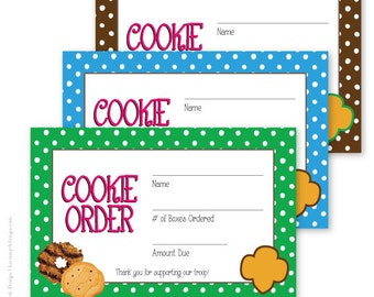 Girl Scout Cookie Polka Dot Sales Receipts. Printable download. 3 colors Available