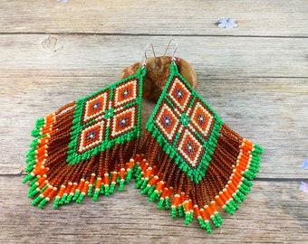 Boho jewelry Chandelier earrings Dangle earrings Boho earrings Statement earrings Beaded earrings Tribal earrings Bohemian earrings