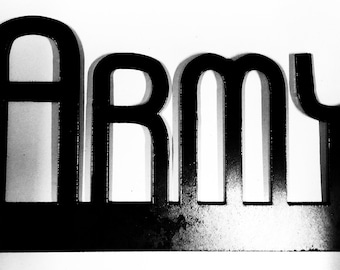 ARMY, metal word art, gift, metal decor, home decor, metal wall sculptures, wall decor, armed forces, military
