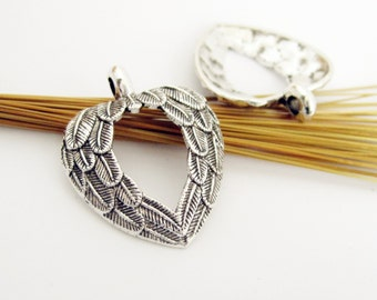 10pcs 31x26 antique silver heart wing charms, angel wings, feather pendant connector setting xd3818