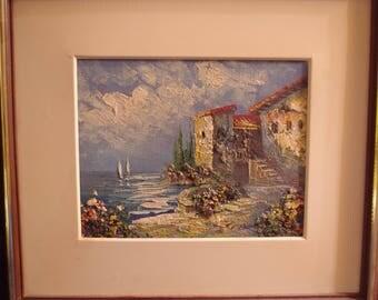 Vintage Oil Painting on Canvas Mediteranian Sea and Landscape Framed