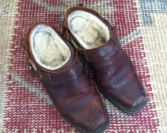 Frye Shearling Harness Clogs Boots Winter 6 Leather Shearling Vintage Cowboy Clog Boots Fur Clogs