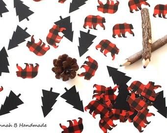 Lumberjack Bear Confetti, Plaid Bear Confetti, Lumberjack Birthday