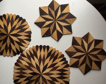 Geometric wood table protector
