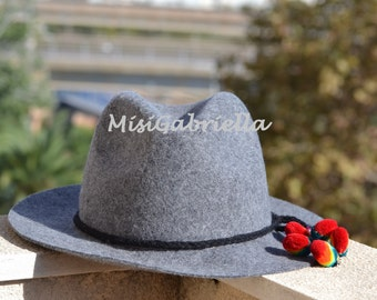 Sale............30% off........WINTER HAT, POMPON Hat, Folk Hat, Grey Hat, Ethnic Hat, Wool Hat