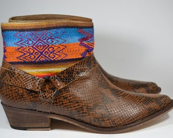 LEATHER ETHNIC BOOTS, Size 41, Brown snake Boots, Ethnic Boots, Spanish Boots