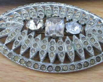 """vintage oval brooch marcasite effect with stones missing,great clasp 2.25"""" x 1.25"""""""