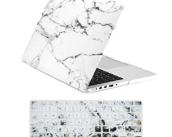 "2 in 1 Retina 13-Inch White Marble Rubberized Hard Case and Keyboard Cover for Older Generation MacBook Pro 13"" with Retina A1425 / A1502"
