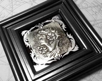 Classical Portrait : hand embossed art nouveau portrait repoussé metal wall art