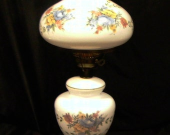 Gone With The Wind 3 Way TV Parlor Table Lamp & Night Light Handpainted Floral White Milk Glass Globe Hurricane Chimney by Accurate Casting