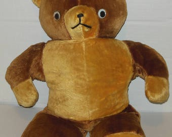 Vintage Large Teddy Bear 24 Inch Mid Century Tan Brown Stuffed Animal