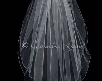 Rose Gold Embroidered Two Layer Wedding Veil Bridal Accessory Fingertip Length Custom