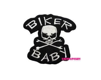 Biker Baby Skull Crossbone Black Patch New Sew / Iron On Patch Embroidered Applique Size 8.7cm.x8.1cm.