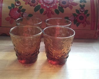 Vintage 4 60's Topaz  gold Rocks lowball glasses in the Anchor Hocking Milano bumpy pattern