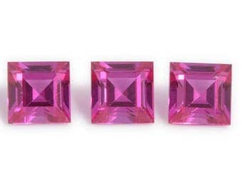 Ruby Loose Synthetic Lab Created Gemstones Set of 3 Square Cut 1A Quality 4mm TGW 1.20 cts.