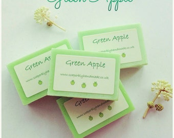 Green Apple soap, Luxury soap bar with added coconut oil,  Handmade with love