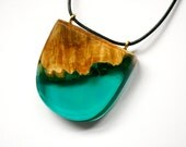 Large statement pendant / necklace handmade from Australian wood and teal green resin