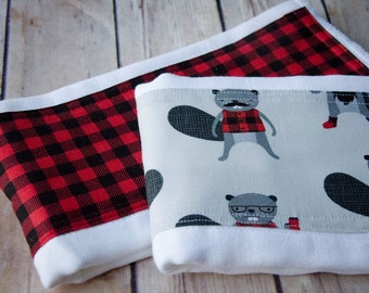 Lumberjack Beaver Cloth Diaper Burp Cloth Set,  Burpie, Burpee, Changing pad, Baby Gift, Cloth Diaper, Red Plaid, Beaver, Baby Shower Gift