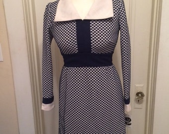 Vintage Navy and White Polka Dot Dress Mod 1960's