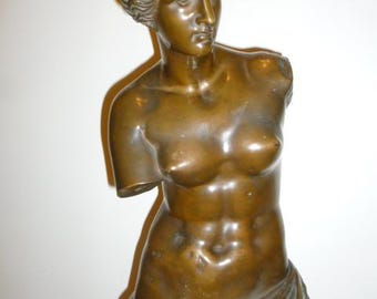 Large antique 34 inches high European Venus de Milo bronze sculpture circa 1880