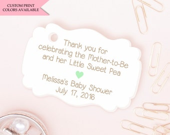 Sweet pea baby shower tags (30) - Baby shower tags - Baby gift shower tags - Baby shower favor tags - Baby shower thank you tags