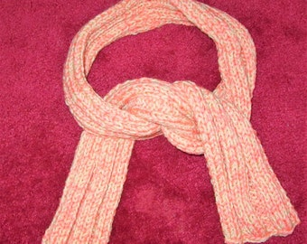 Scarf coral Pink ribbed handknitted winter neck knit wrap New christmas gift