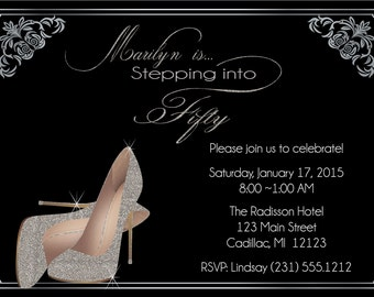 Silver Glitter Shoes Adult Birthday Invitation - Adult Birthday Invite - 50th Birthday Invitation or Any Age