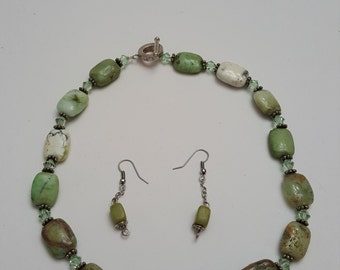 Stone and Crystal Necklace and Earring Set