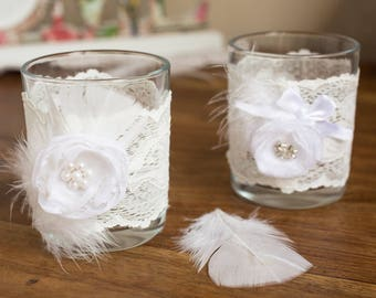 2 Wedding candle holders, 2 glass white candle holders, Wedding table decoration, Set of 2 glass wedding candle holders, Rustic decor