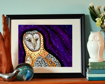 "Barn Owl, 11x14"" limited edition print"