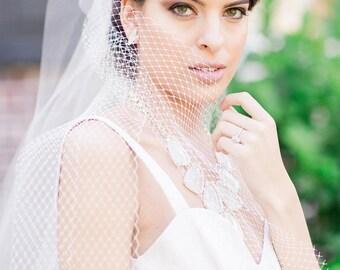 Triple Layer Veil with Blusher, Madonna Veil, Tulle Russian Netting Veil, Flyaway Veil, Flyaway Veil, Tulle Veil, Unique Veil- NICKI