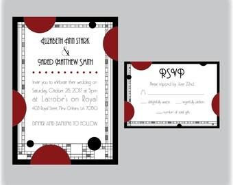 Custom Printable Gothic Art Deco Wedding Invitation and RSVP
