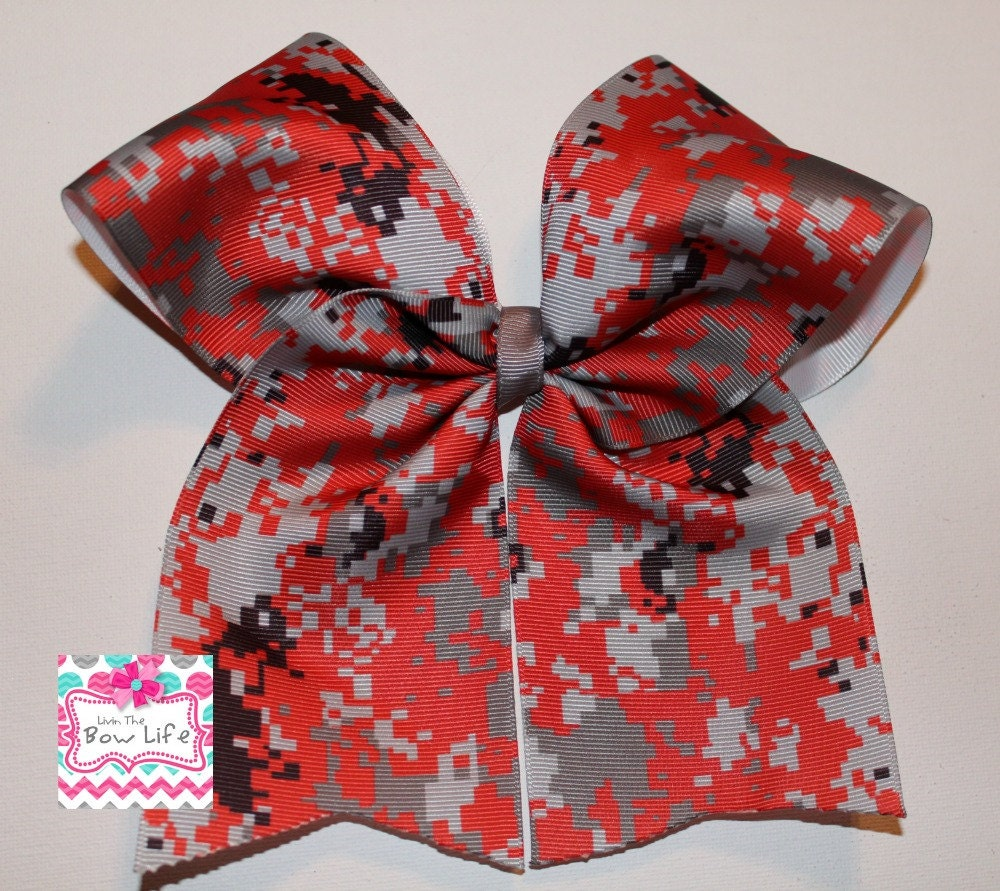 RED DIGITAL CAMO Cheer Bow exclusive design cheer bow