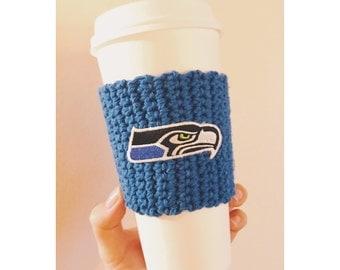 Seahawks Coffee Cozy // Seattle Seahawks Cozy // Reusable Coffee Cozy // Knitted Coffee Cozy