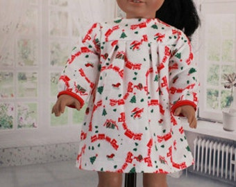 American Girl Doll Vintage Flannel Christmas Nightgown