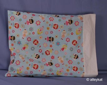 Pillowcase Made with Fairy Princess Fabric, Travel/Toddler size, Cotton