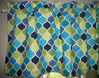 Royal Blue LIme Green Ogee Lattice Quatrefoil fabric topper curtain Valance
