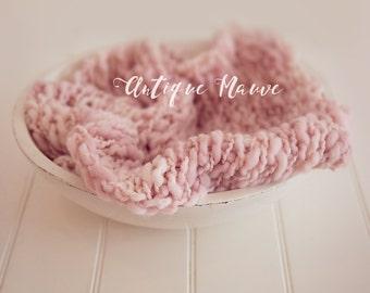 Merino  Baby Handspun Blanket Photo prop - Pink Mauve - newborn Basket filler - Toddler Portrait