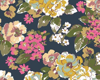 Kabloom Floral in Knit, Homestead Life Collection, BOLT by Girl Charlee Made in USA, Cotton Jersey Knit Fabric 5636