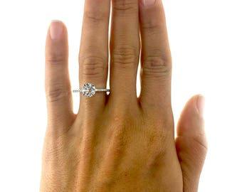 3.71  Carat  Side Stones Diamond Engagement Ring14K White Gold #J37801  FREE SHIPPING